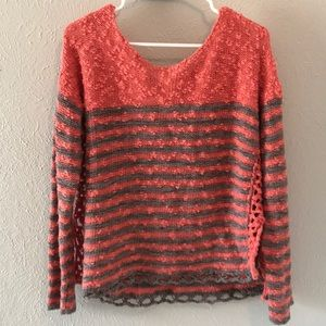 Free People Sweater- Pink and Grey Striped